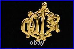Christian Dior Signed Statement Pin Brooch Gold Monogram Script Vintage BinB