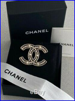 Classic Chanel CC Logo Gold Sparkly Crystal Pearl Brooch Pin