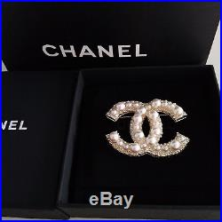Classic Chanel Large CC Logo 18K Gold Pearl Brooch Anniversary Pin XL New