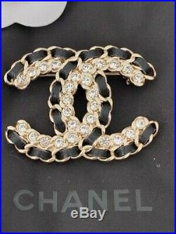 Classic Chanel Large CC Logo Crystal Leather Brooch Pin