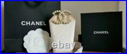 Coco Chanel Strauss Gold and Faux Pearl Brooch Pin Logo