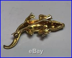 Craig Drake 18K Gold Diamond And Ruby Alligator Brooch Pin