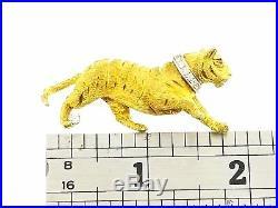 Craiger Drake 18k Gold and Platinum Diamond and Ruby Tiger Brooch pin