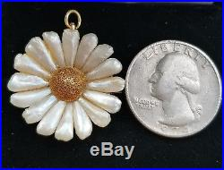 Crossman & Co Antique 14k Yellow Gold River Pearl Flower Pendant Brooch Pin
