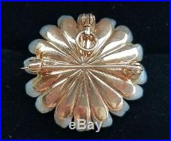 Crossman & Co Antique 14k Yellow Gold River Pearl Flower Pendant Brooch Pin