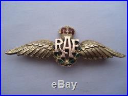Cww2 Vintage R. A. F. 9ct Gold & Enamel Sweethearts Pin Brooch