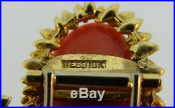 DAVID WEBB Coral Diamond Yellow Gold NECKLACE Removable BROOCH Pin Clip 1950s