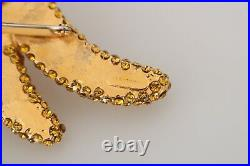 DOLCE & GABBANA Brooch Pin Banana Gold Yellow Brass Crystal Catwalk RRP $450