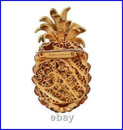 DOLCE & GABBANA Brooch Pin Gold Brass Orange Crystal Pineapple Catwalk RRP $600