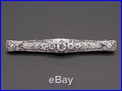 Deco Platinum 14k Yellow Gold 1.10ct Round European Diamond Filigree Brooch Pin