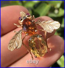 Designer 14K Yellow Gold & Honey & Lemon Citrine & Ruby Bee Insect Pin Brooch