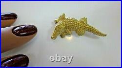 Designer Barry Kieselstein Cord 18k Solid Gold Alligator Crocodile Pin Brooch