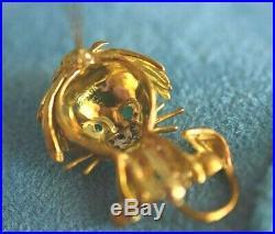 Designer HAMMERMAN BROS 18K Gold Diamond Ruby Emerald Lion Vintage Brooch Pin