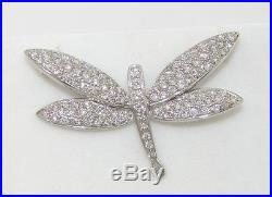 Diamond Dragonfly Brooch Pin 1.73 Carats 18k White Reduced