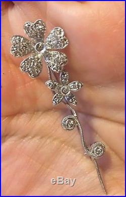 Diamond Flower Pin Brooch 14k White Gold