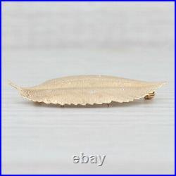 Diamond Leaf Pendant Brooch 14k Yellow Gold Floral Statement Pin