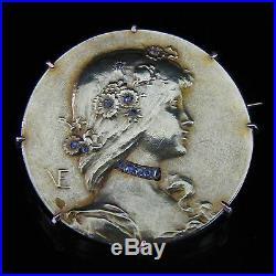 EMILE VERNIER Antique Art Nouveau Diamond 18k Yellow Gold Brooch Pin Rose 1890s