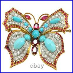 ESTATE 3.2 CT Turquoise Ruby Diamond 18K Yellow Gold Over Butterfly Brooch Pin