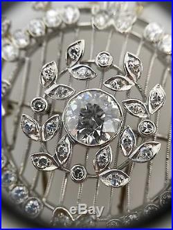 ESTATE Circular Diamond Pin/Brooch with 1.62 ct Center in 18k White Gold HM1374
