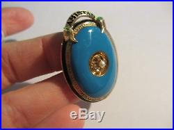 EXQUISITE ANTIQUE VICTORIAN 10/12K YG BLUE & BLACK ENAMEL PIN BROOCH WithPEARL-NR