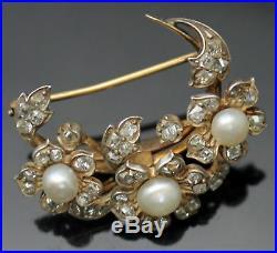 Edwardian Era Rough Cut Genuine Diamonds Pearls 18k Gold Platinum Brooch Pin