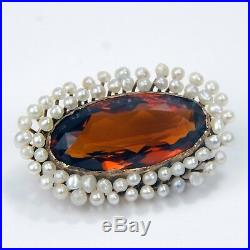 Edwardian Halo Seed Pearl & Madeira Citrine Pin Brooch 10 kt Yellow Gold #A3906
