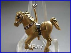 Elegant 14 Kt Gold Diamond Ruby Sapphire Carousel Horse Pendant Brooch Pin Charm