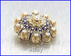 Elegant Ladies Antique 14K Yellow Gold 2.25ctw Diamond Blue Enamel Brooch Pin