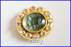 Elizabeth Locke 19k Gold Blue Venetian Glass Horse Chariot Pin Pendent Brooch