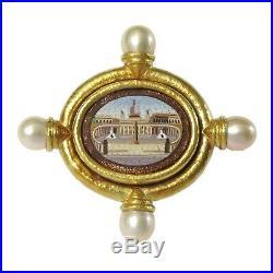 Elizabeth Locke Vatican Micro Mosaic Pearl Gold Brooch Pin