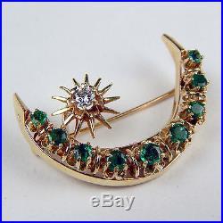 Emerald & Diamond Crescent Moon & Star Motif Brooch Pin 14 kt Yellow Gold #9876