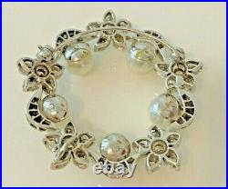 Estate 14K White Gold + Diamonds & 5 Pearls Vintage Wreath Pin / Brooch SEE