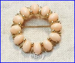 Estate 14K Yellow Gold and Angel Skin Coral Cabochons Circular Brooch Pin