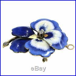 Estate 14k Yellow Gold. 2ctw Diamond Blue Enamel Pansy Flower Brooch Pin Pendant