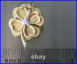 Estate. 15 ct Diamond 14K Yellow Gold Four Leaf Clover Pendant/Pin/Brooch 7g