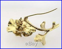 Estate 18K Yellow Gold Well Made Reproduction Diamond Enamel Flower Brooch Pin