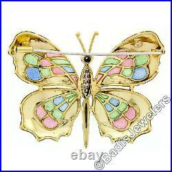 Estate 18k Gold Large Colorful Plique a Jour Enamel Diamond Butterfly Brooch Pin