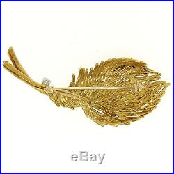 Estate 18k Solid Yellow Gold. 26ctw F VS1 Diamond Large Textured Leaf Brooch Pin