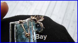 Estate Huge 41.80 carat Aquamarine, topaz & amethyst 14k gold bee fly brooch pin