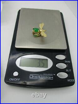 Estate Jewelry Solid 14k Yellow Gold Bee Fly Bug Brooch Pin Green Belly Stone