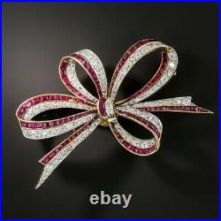 Estate Ruby And Diamond Bow Brooch Pin In 2.45 Carat 14k Yellow Gold Over 1pc