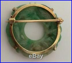 Estate Solid 14k Yellow Gold Jade Ladies Brooch Pin Wreath Jade Circle Carved