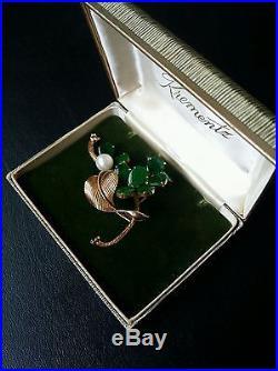 Estate Vintage14K Yellow Gold Green Jade & Pearl Brooch Pin, 13.7 Grams
