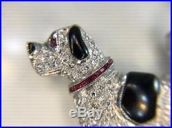 Estate Vintage 18k White Gold Round Diamond Ruby Dog Brooch Pin