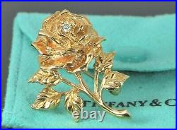 Estate Vintage Collectible Tiffany & Co 14K Yellow Gold Diamond Rose Pin Brooch