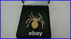 Estate solid 14K 585 yellow gold and diamond spider pin brooch 6.5g