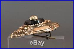 Exceptional 14k fine Gold Victorian Mourning Pin Brooch Memento Mori Skull Onyx
