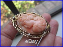 Exquisite 10k Yg Deeply Carved Antique Salmon Coral&diamond Cameo Pin/brooch-nr