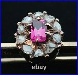 FABERGE Brooch Pin Imperial Russian Gold 56 Burma Ruby Old Mine Rose Diamond 14K