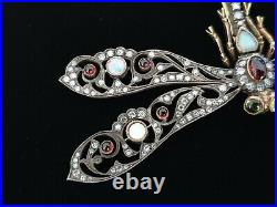 FABERGE Era Imperial Russian Dragonfly Brooch Gold Pin Diamond Jewelry Romanov